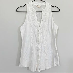 Anthropologie Meadow Rue White Embroidered Tank